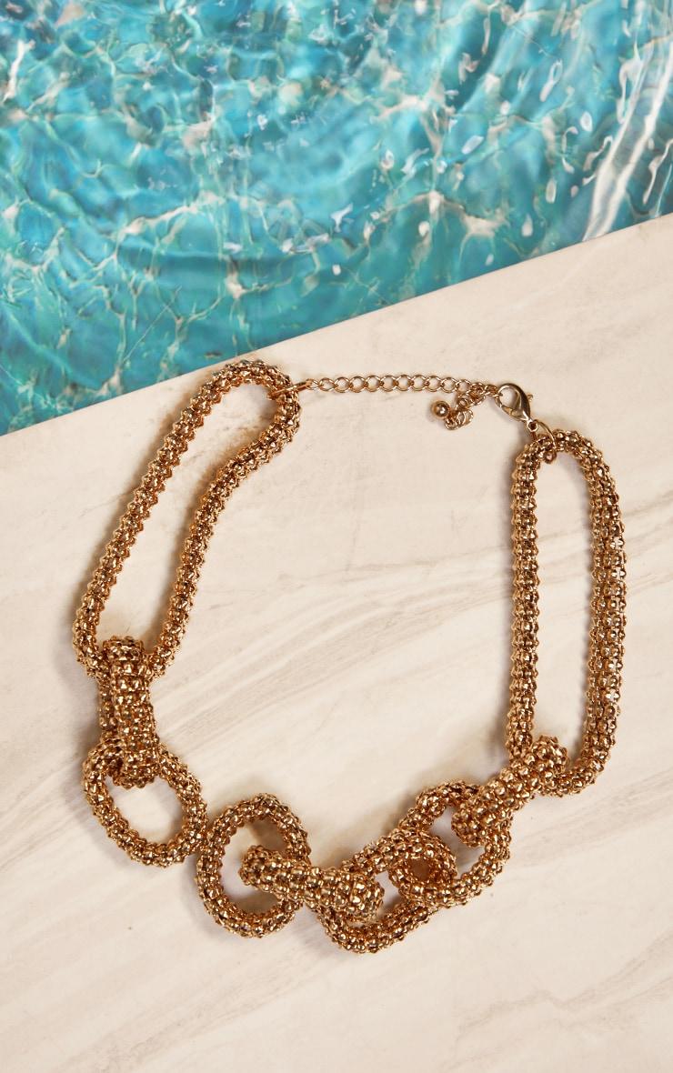 Dark Gold Round Mesh Chain Chunky Necklace 1