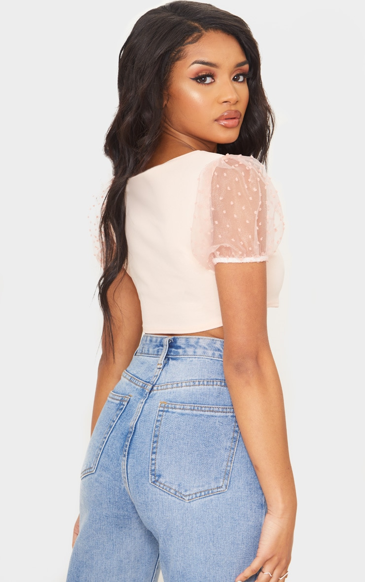 Petite Soft Baby Pink Organza Puff Sleeve Crop Top 2
