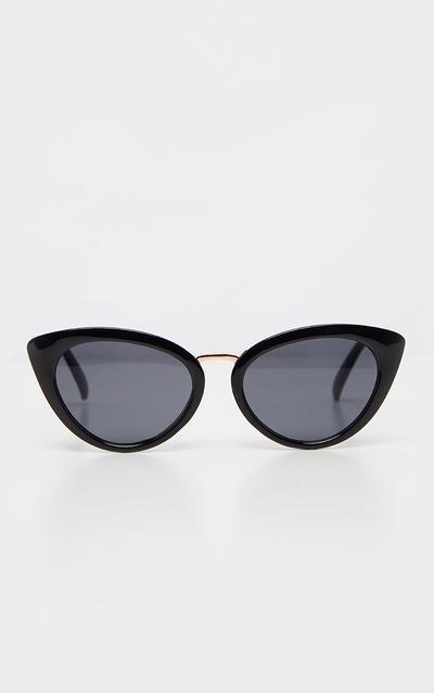 Black Metal Bridge Cat Eye Sunglasses