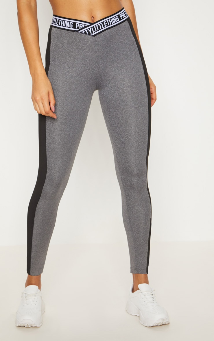 PRETTYLITTLETHING Charcoal Contrast Stripe Sports Legging 2