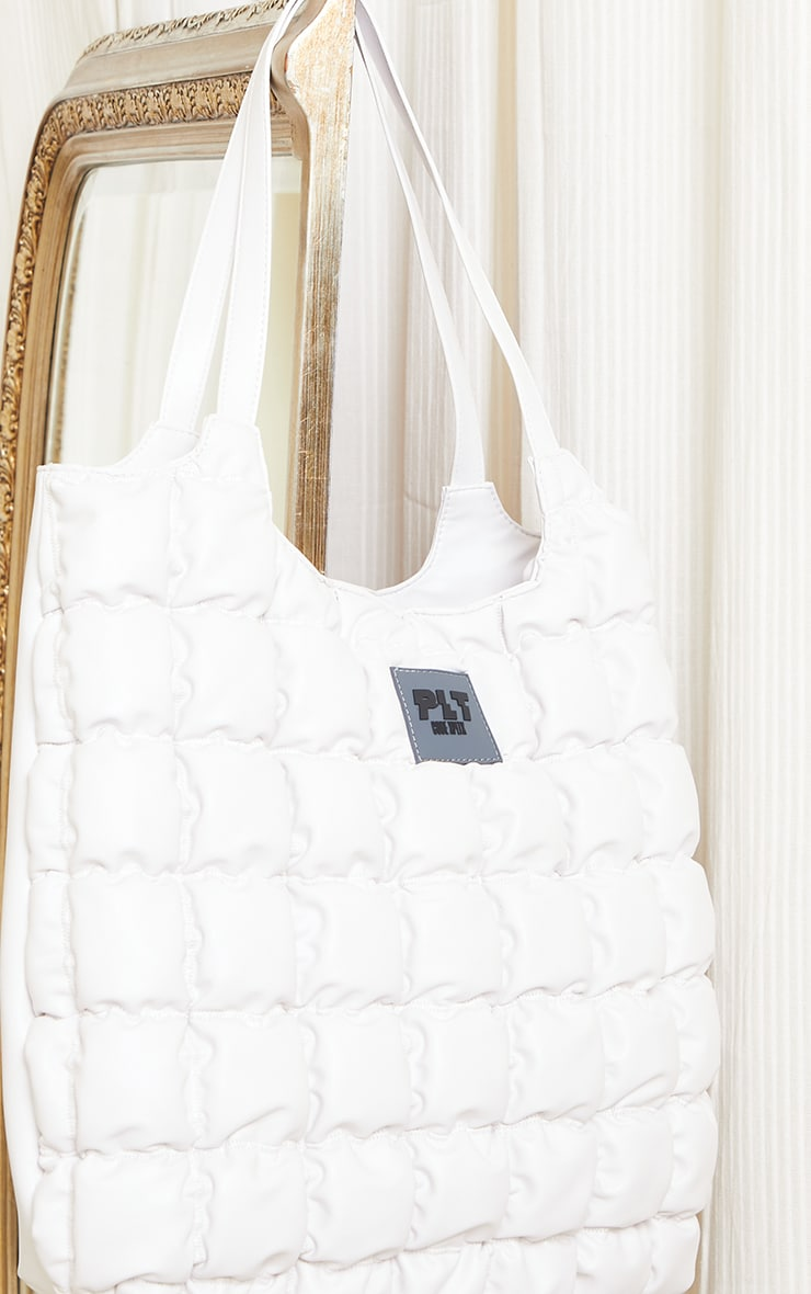 PRETTYLITTLETHING White Padded Tote Bag 3