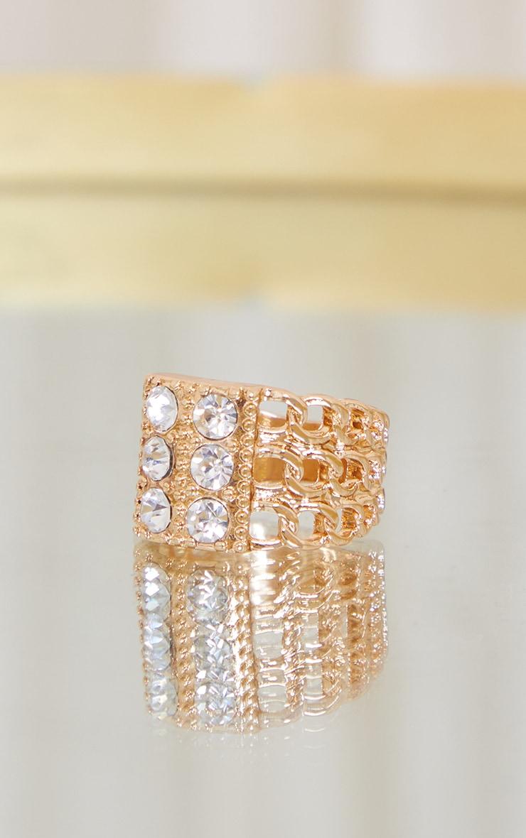 Gold Chain Triple Diamante Ring 1