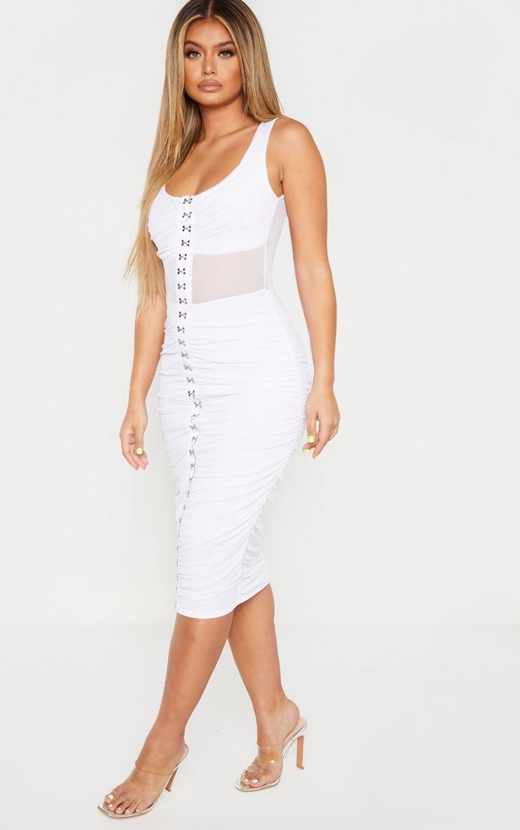 White Mesh Ruched Hook And Eye Midi Dress 1