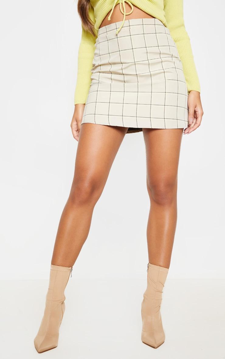 Stone Woven Check A Line Skirt  2