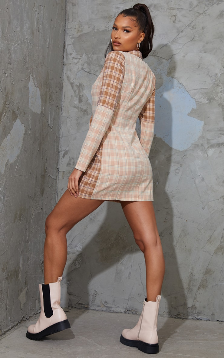 Stone Shoulder Pad Contrast Check Button Shirt Dress 2