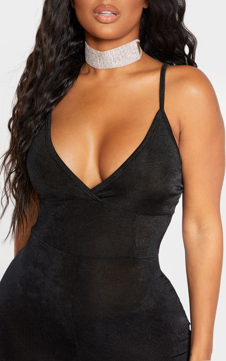 Shape Black Slinky Panelled Strappy Jumpsuit 5