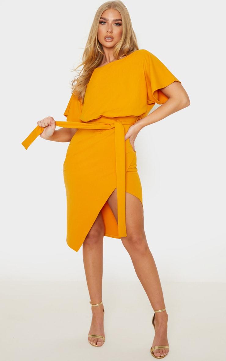 Mustard Wrap Front Kimono Sleeve Midi Dress 1
