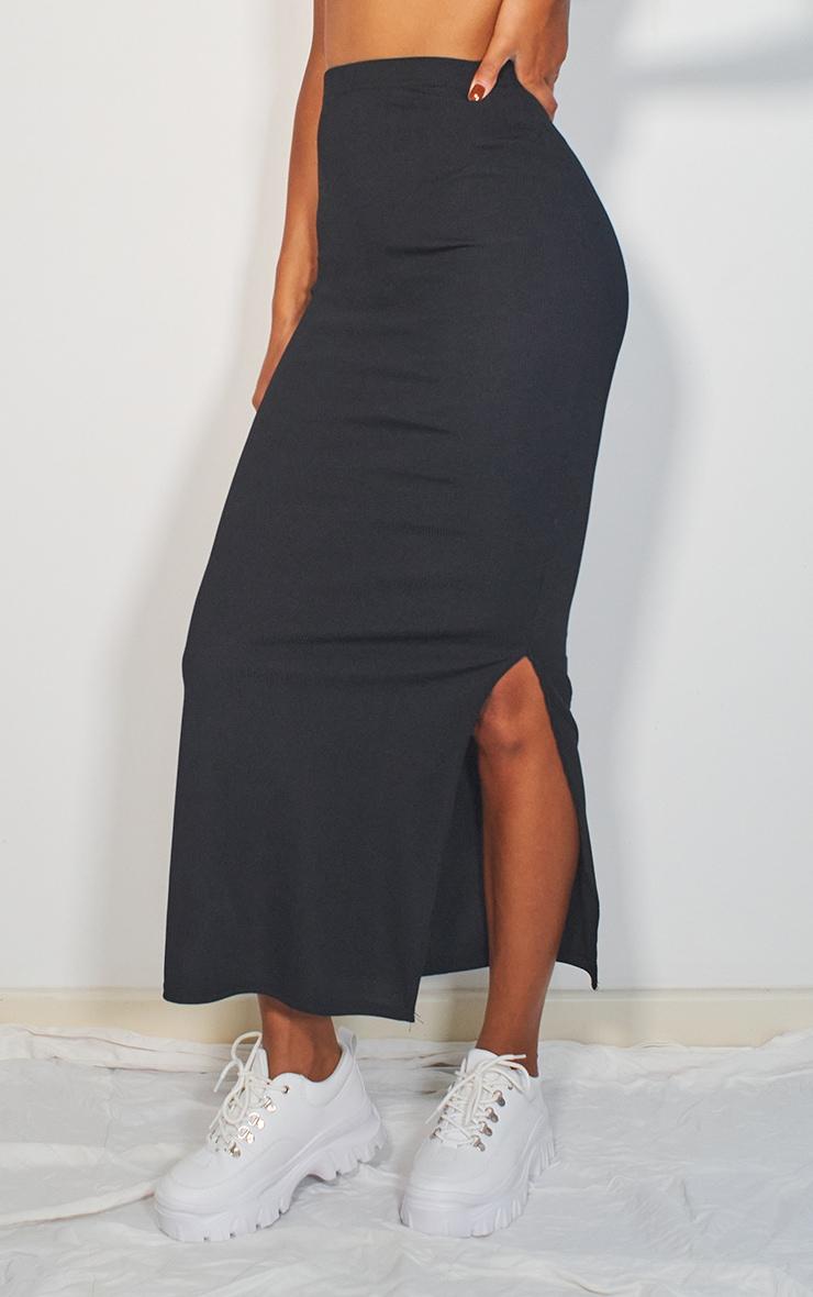 Black Rib Split Hem Maxi Skirt 2