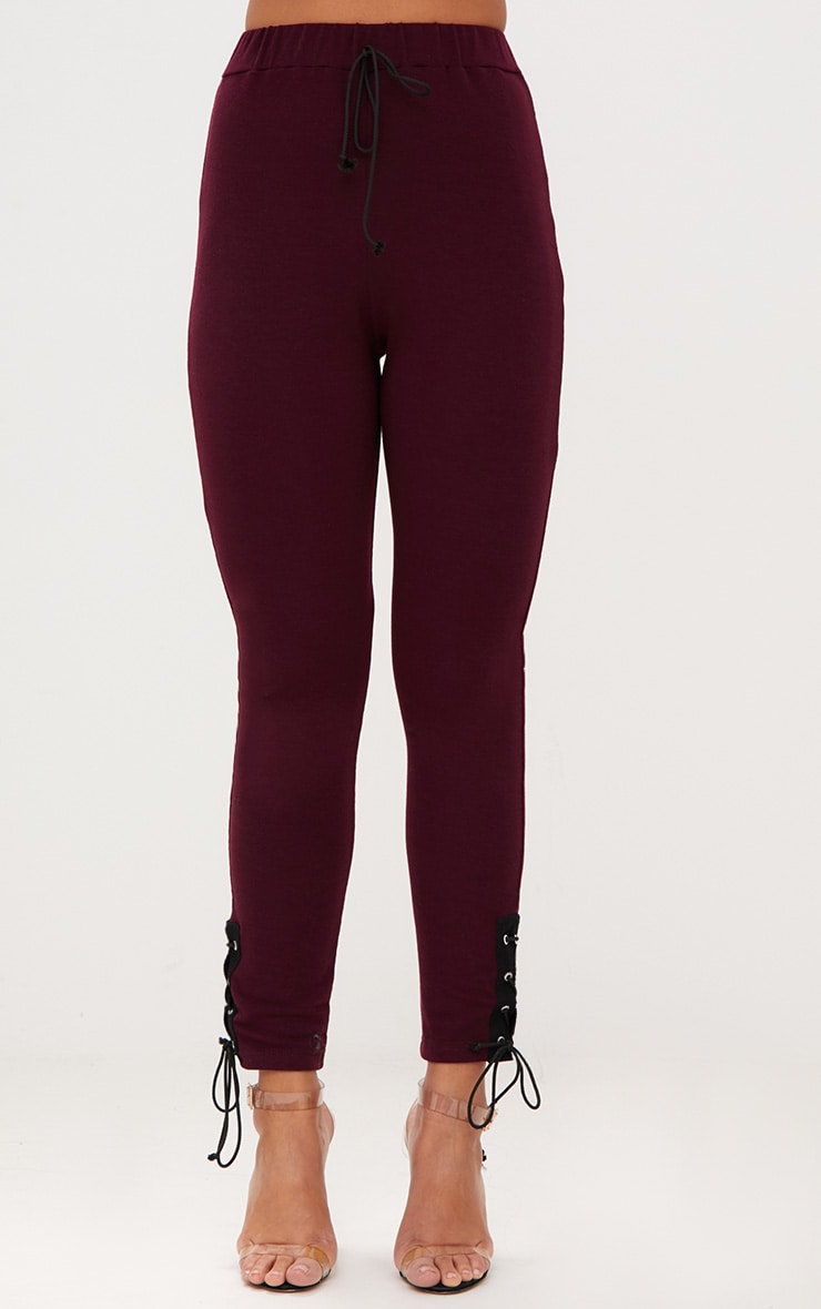 Burgundy Lace Up Side Joggers 2