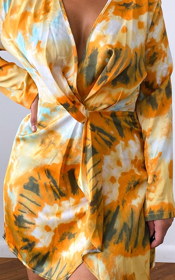 Plus Orange Tie Dye Printed Long Sleeve Wrap Dress 4