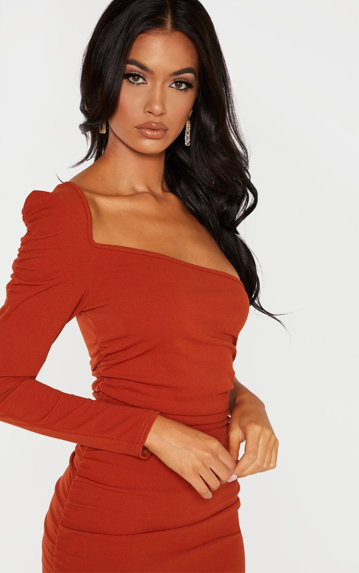 Rust One Shoulder Ruched Detail Midi Dress 5