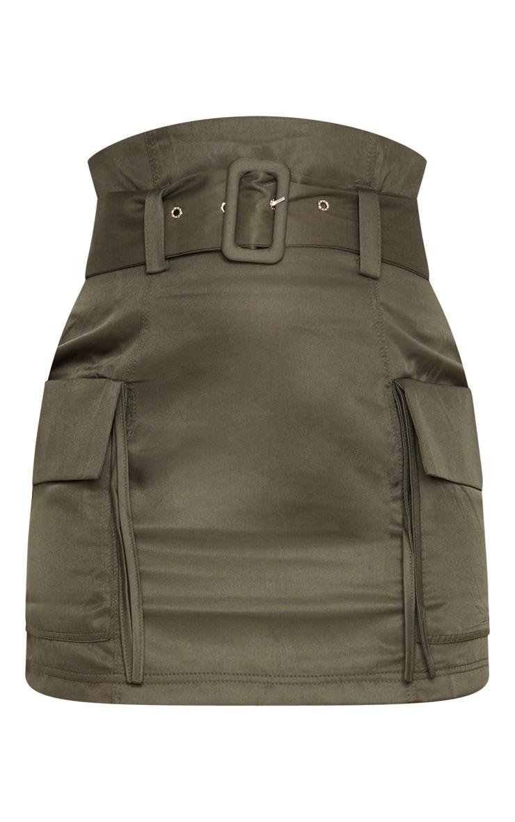 Khaki Belted Pocket Detail Cargo Mini Skirt 6