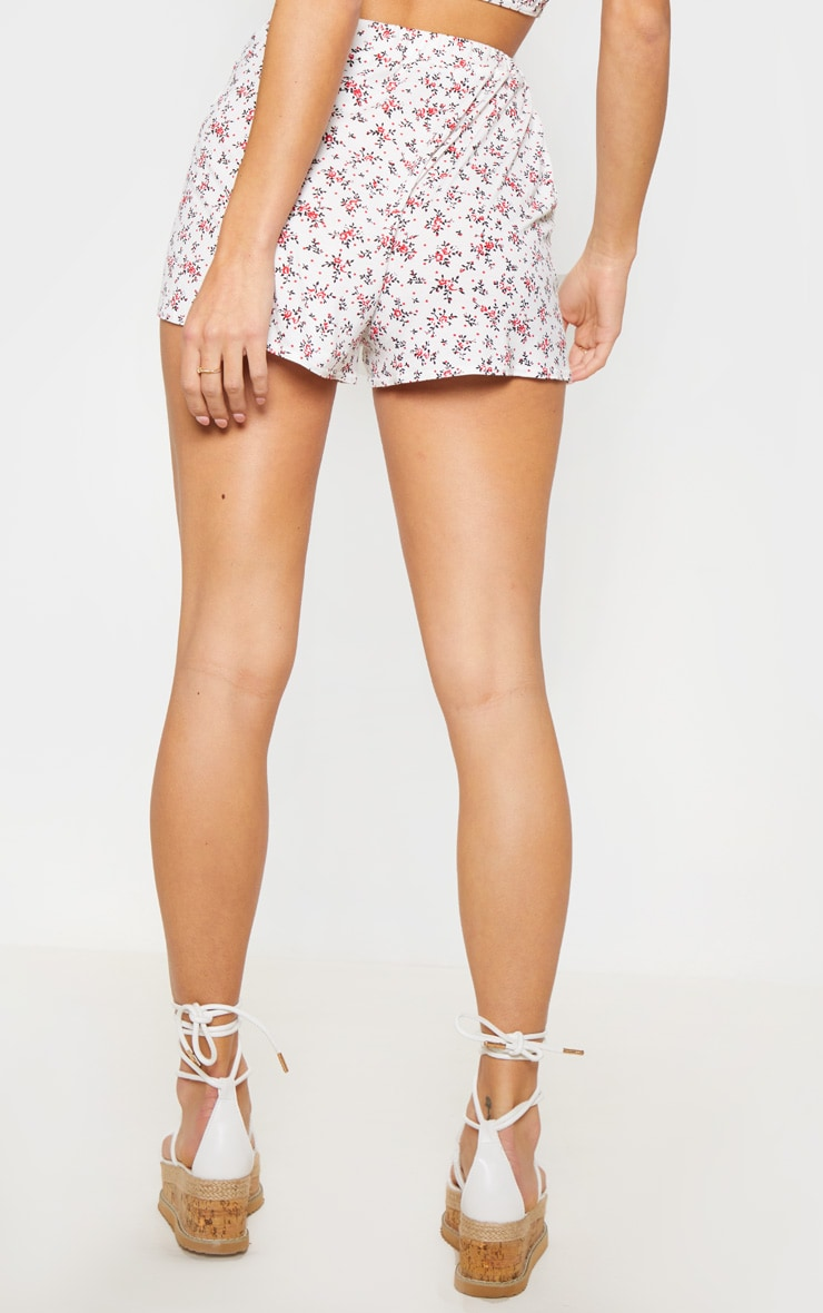 White Ditsy Floral Print Floaty Short 4