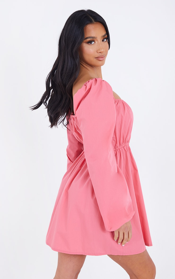 Petite Coral Ruched Balloon Sleeve Smock Dress 2