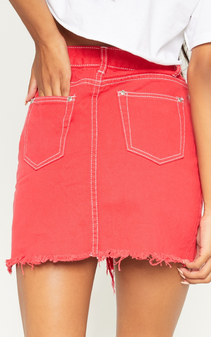 Red Contrast Stitch Denim Skirt 6