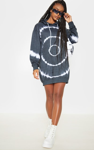 Grey Tie Dye Oversized Hoodie Dress
