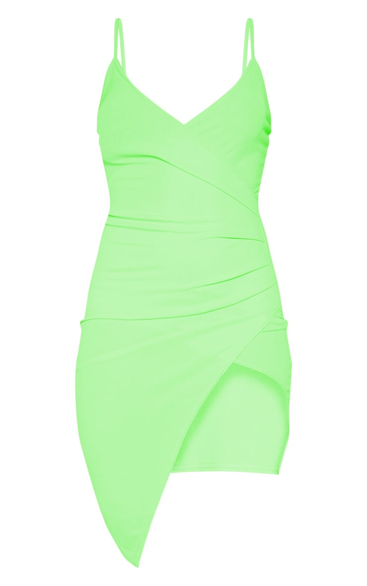 Neon Green Wrap Front Crepe Midi Dress  3