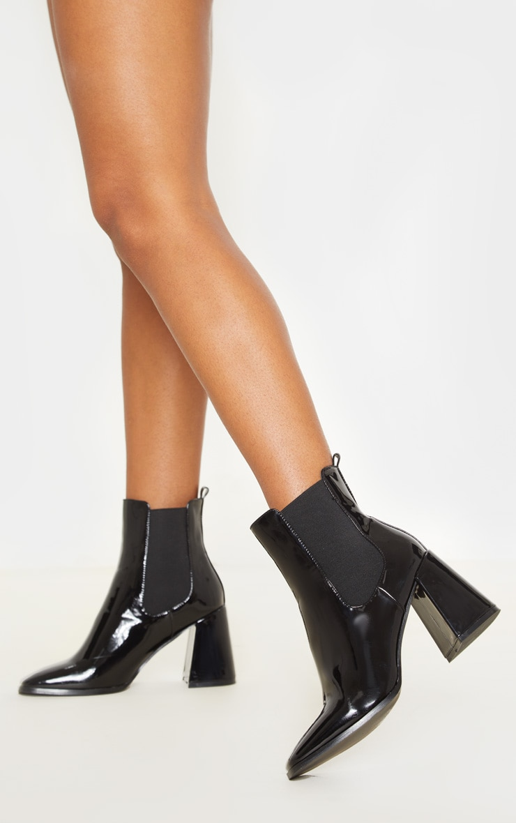 Black Block Heel Square Toe Ankle Boot 2