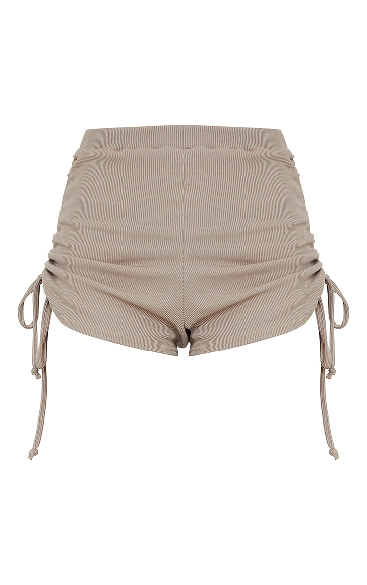 Taupe Ruched Ribbed Side Detail Hot Pants 6