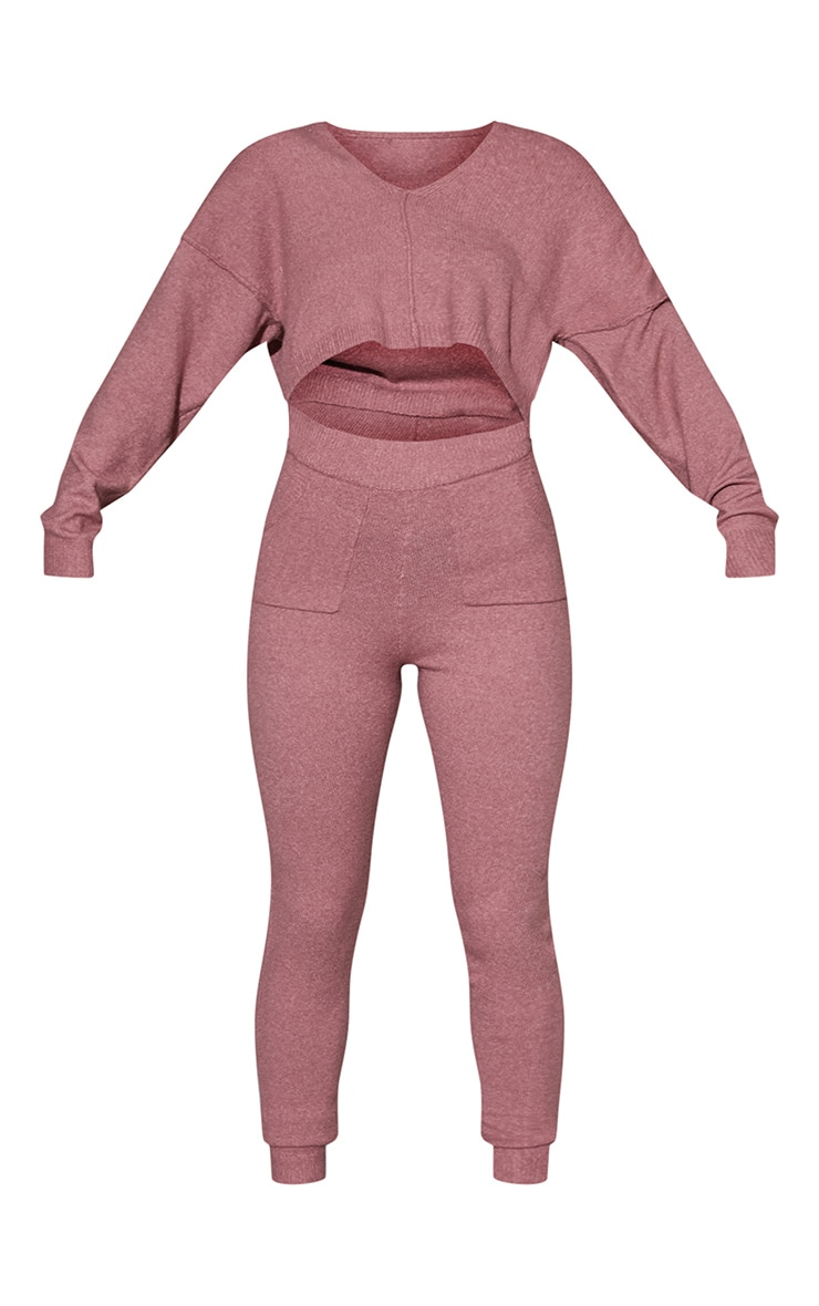 Pink Recycled Crop Sweater And Jogger Knitted Lounge Set 5
