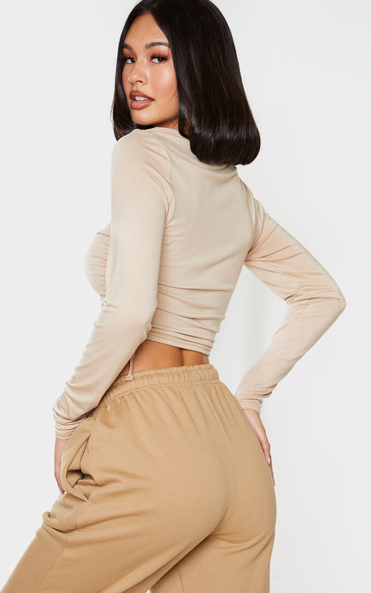 Toffee Jersey Ruched Side Long Sleeve Top 2