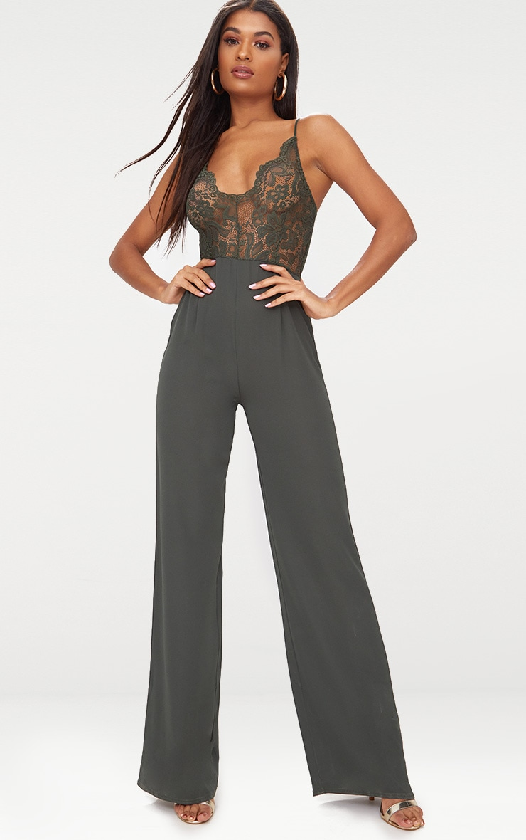 Khaki Lace Wide Leg Lace Jumpsuit 1