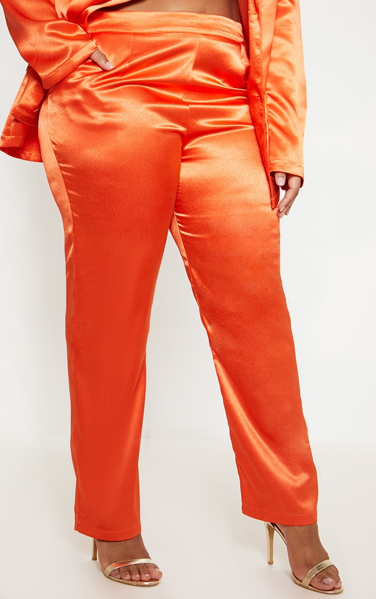 Plus Orange Satin Straight Leg Trouser 2