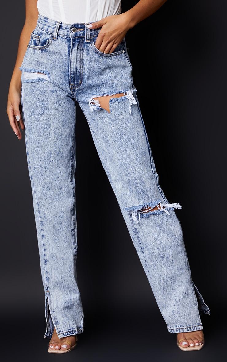 Petite Ice Blue Ripped Split Hem Jeans 2