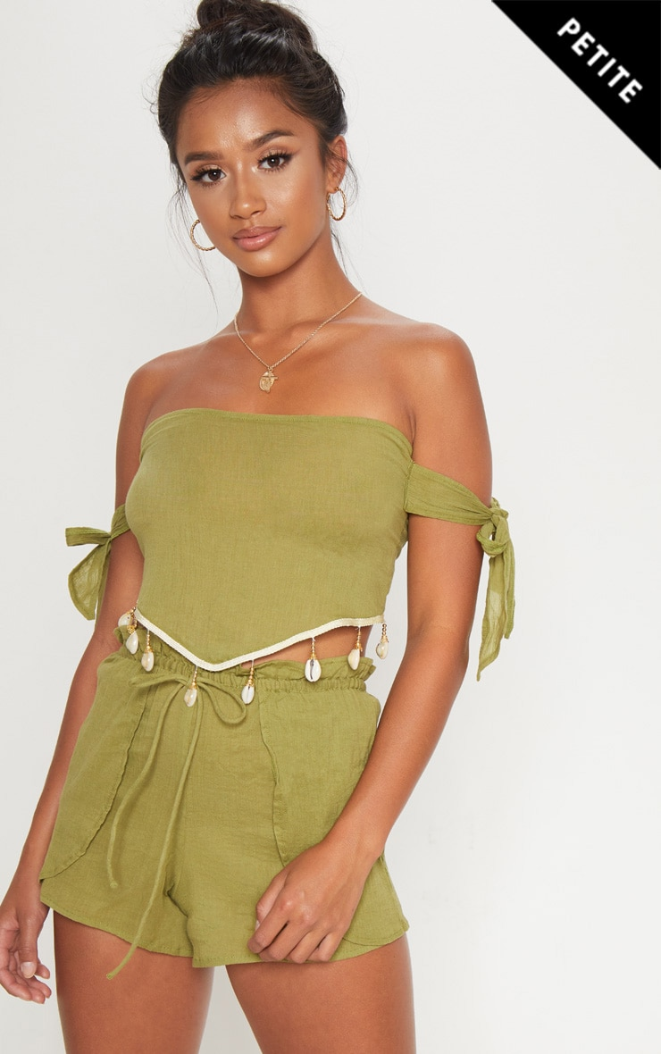 Petite Olive Cheesecloth Shell Trim Crop Top 1