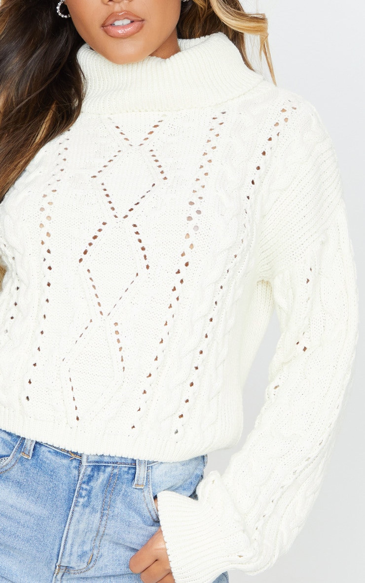 Cream Cut Out Detail Roll Neck Sweater 5