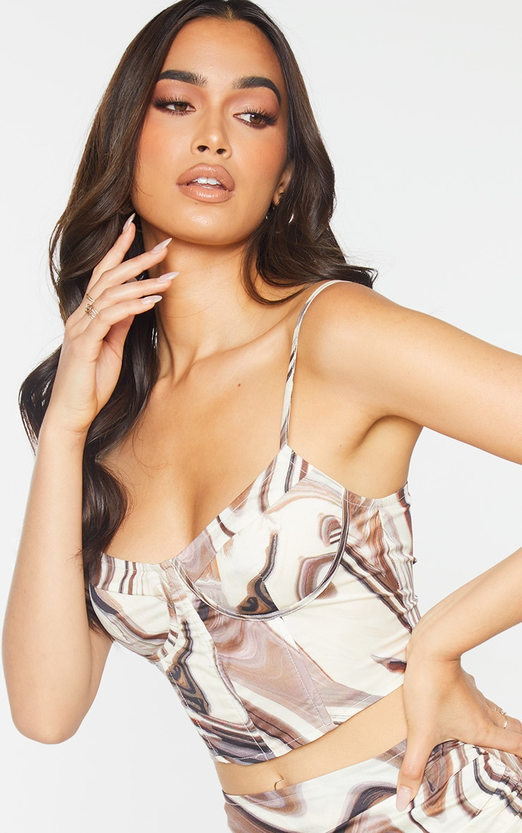 Brown Woven Marble Printed Cup Detail Strappy Corset Top 4