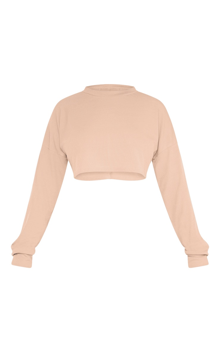 Shape Stone Ribbed Long Sleeve Extreme Crop Top 3