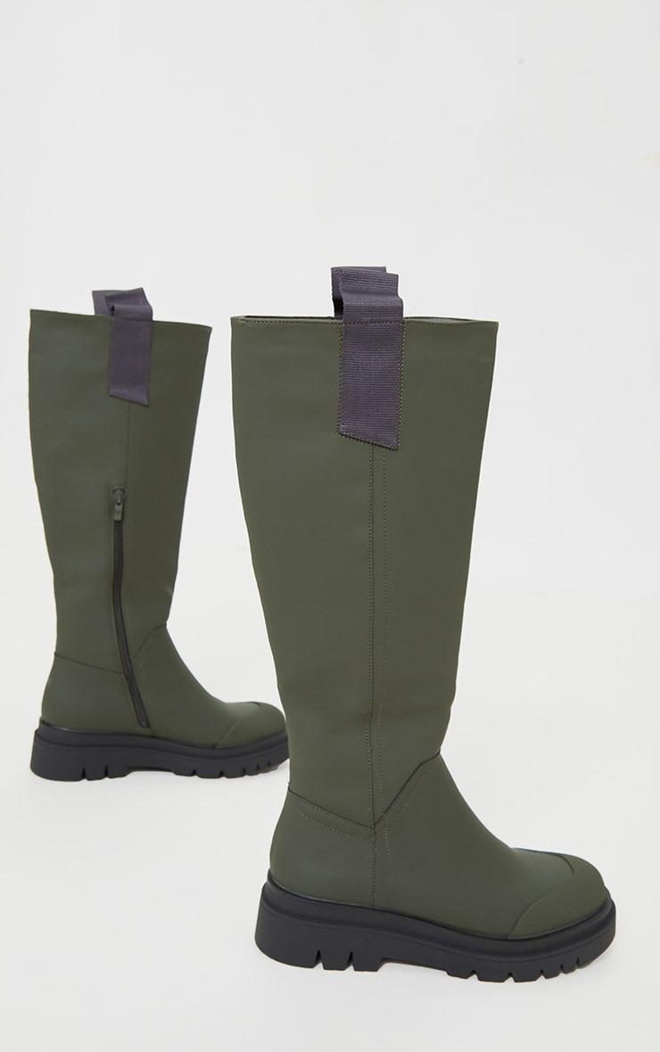 Khaki Rubber Chunky Sole Rain Boots 3