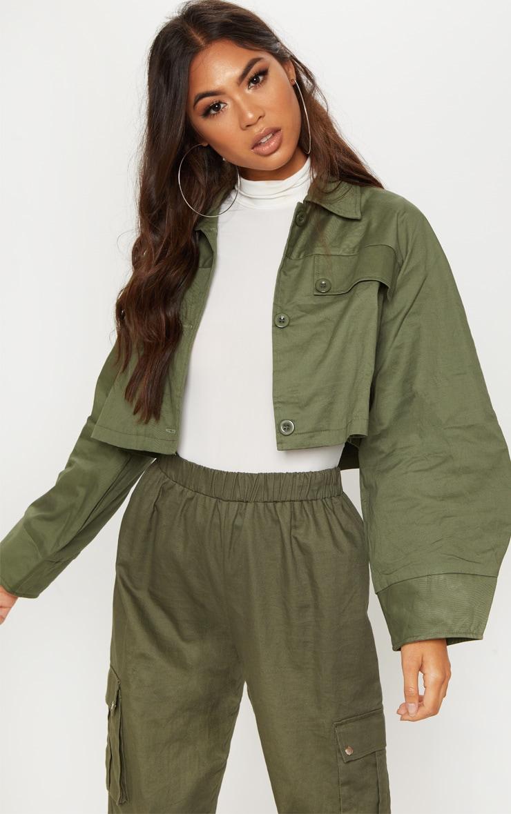Khaki Crop Wide Sleeve Utility Jacket