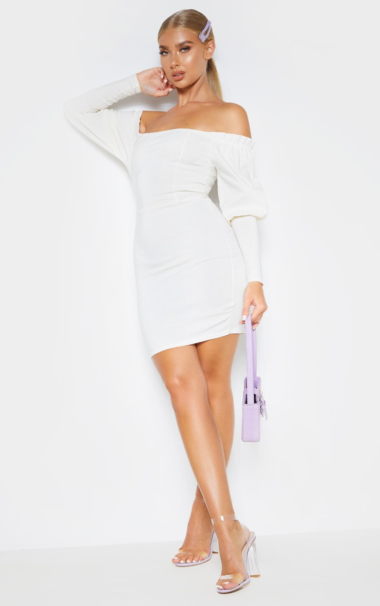 Cream Woven Bardot Frill Detail Bodycon Dress 4