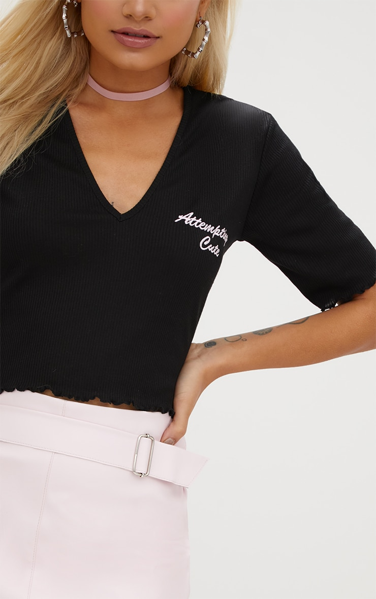Black Cute Embroidered Slogan Rib Crop Top 5