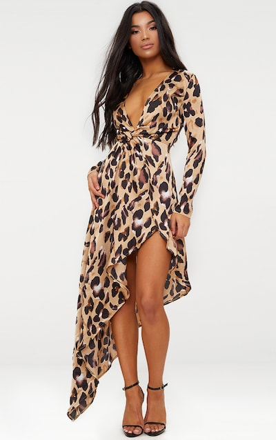 4bef9e86c0 Leopard Asymmetric Hem Long Sleeve Plunge Satin Maxi Dress