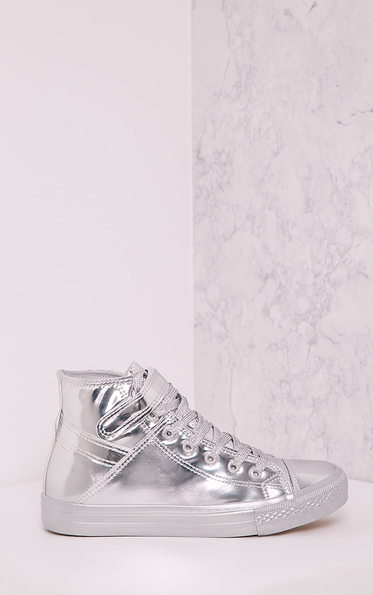 Oona Silver Metallic High Top Sneakers 1