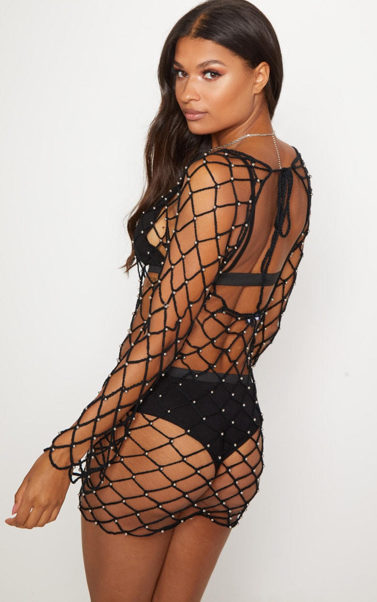 Black Crochet Beaded Long Sleeve Dress 2