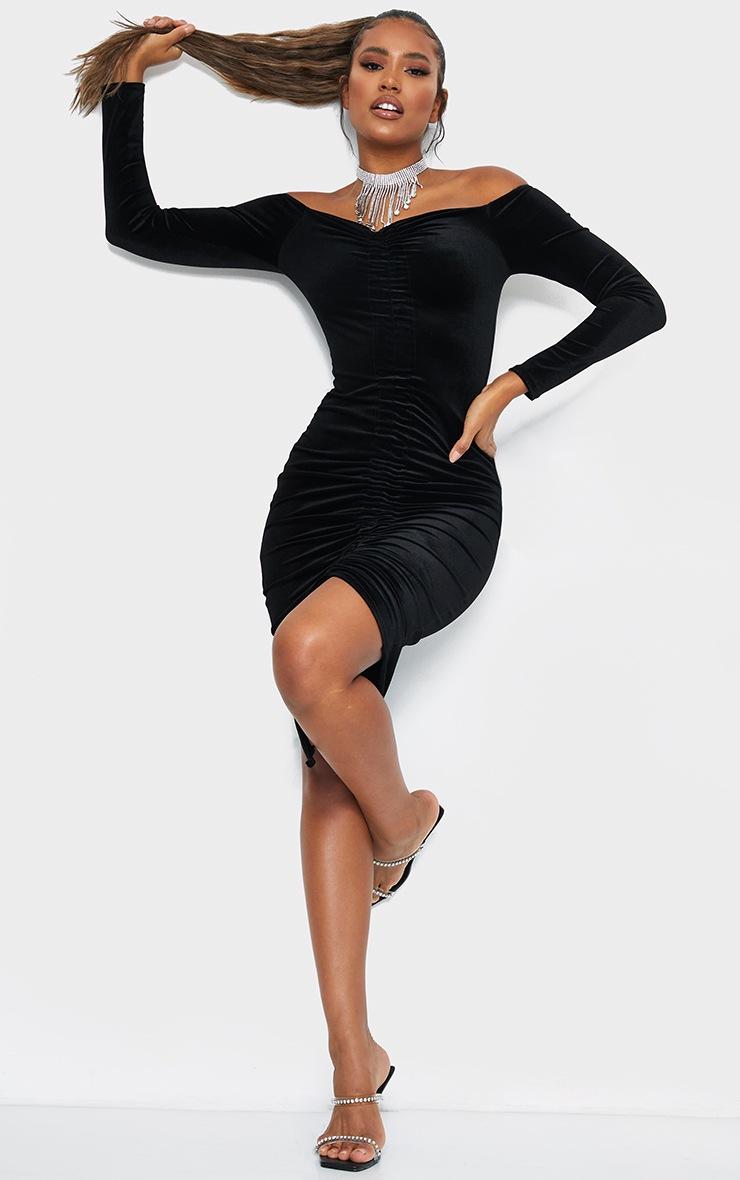 Black Velvet Bardot Ruched Midi Dress 3