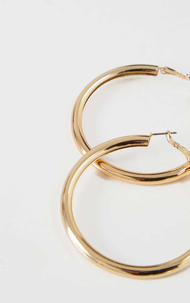 Gold Tubular Medium Hoop Earrings 3