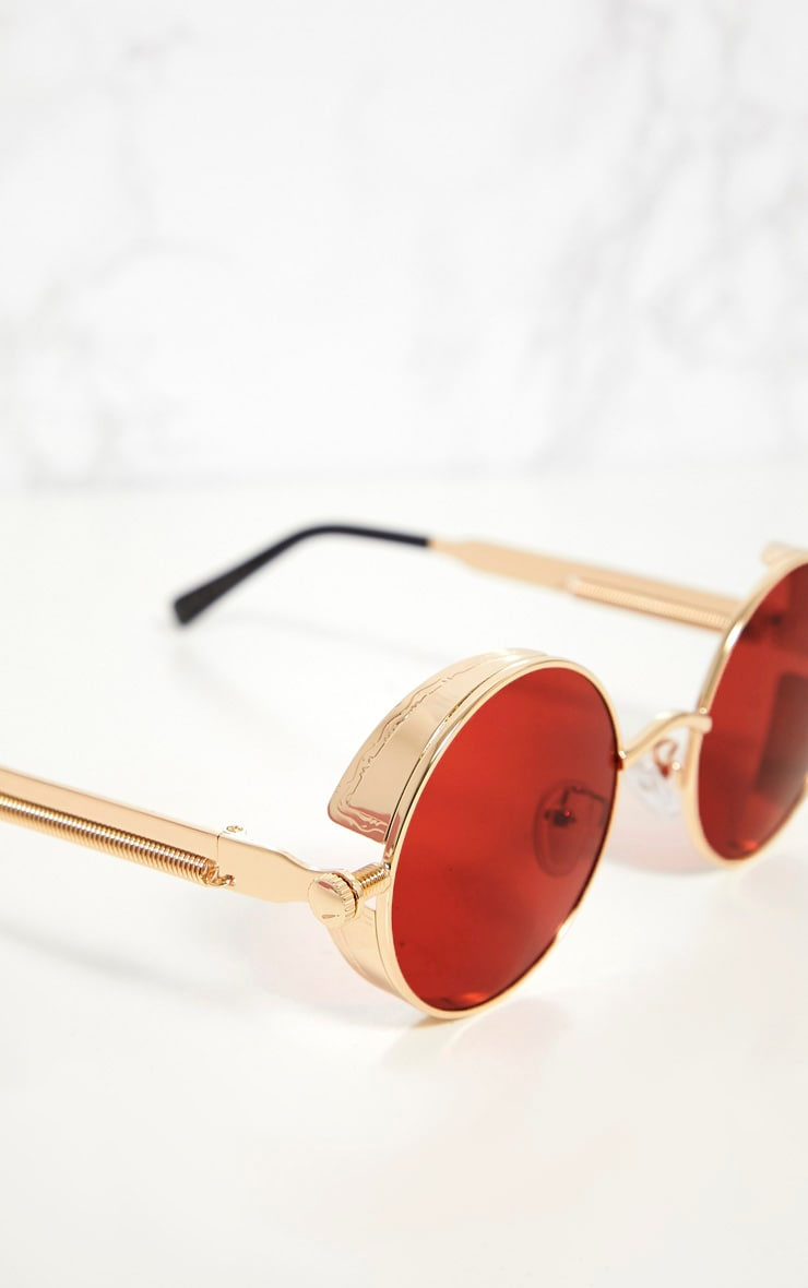 Gold Round Frame Red Lens Spring Sunglasses 4