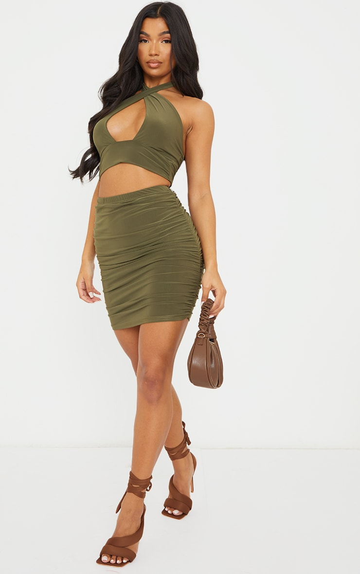 Olive Green Slinky Ruched Side Mini Skirt 1