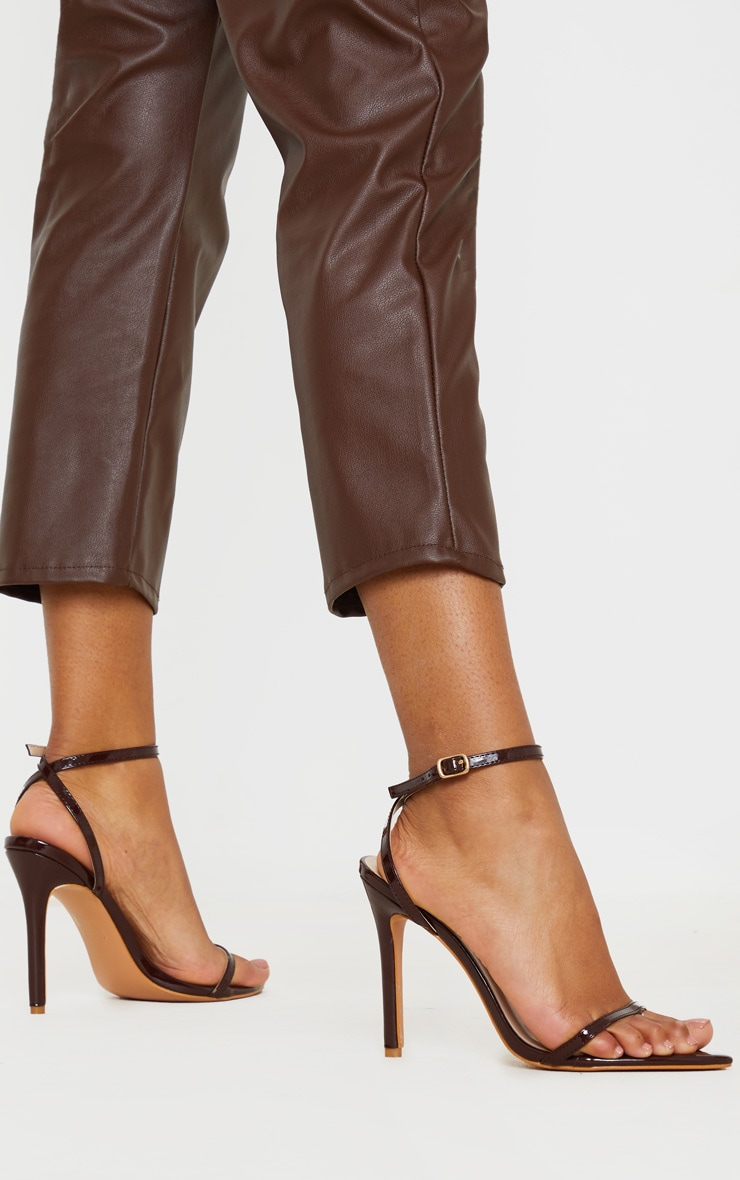 Chocolate Toe Thong Ankle Strap Point Toe Heeled Sandal 2