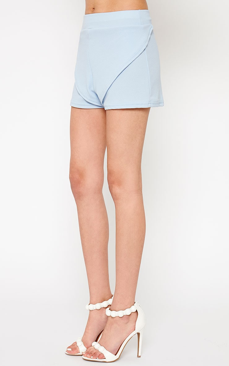 Devon Powder Blue Wrap Detail Shorts 3