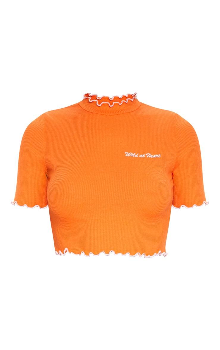 Orange Wild At Heart Jersey Frill Detail Slogan Crop Top 3