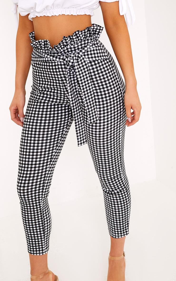 Perlita Black Gingham Paperbag Skinny Pants 5