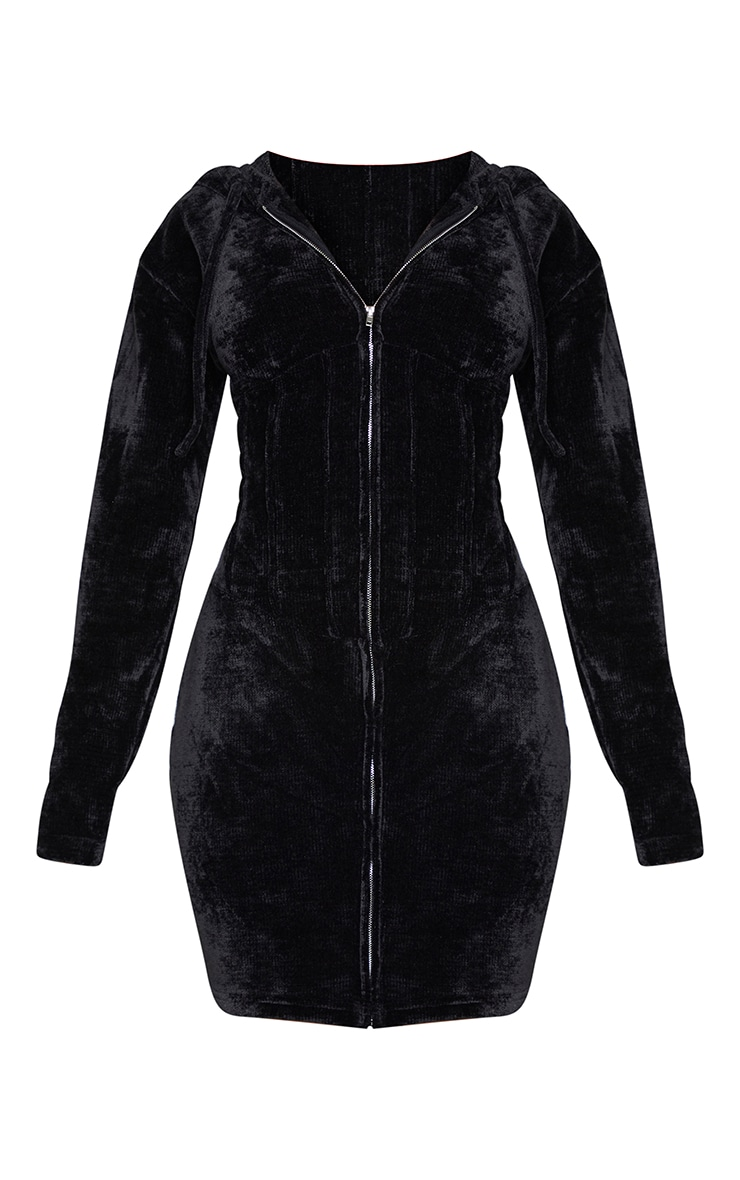 Shape Black Rib Velour Corset Detail Hooded Bodycon Dress 5