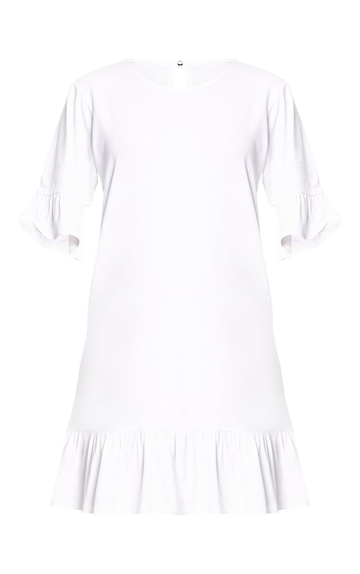White Jersey Frill Hem Shift Dress 3