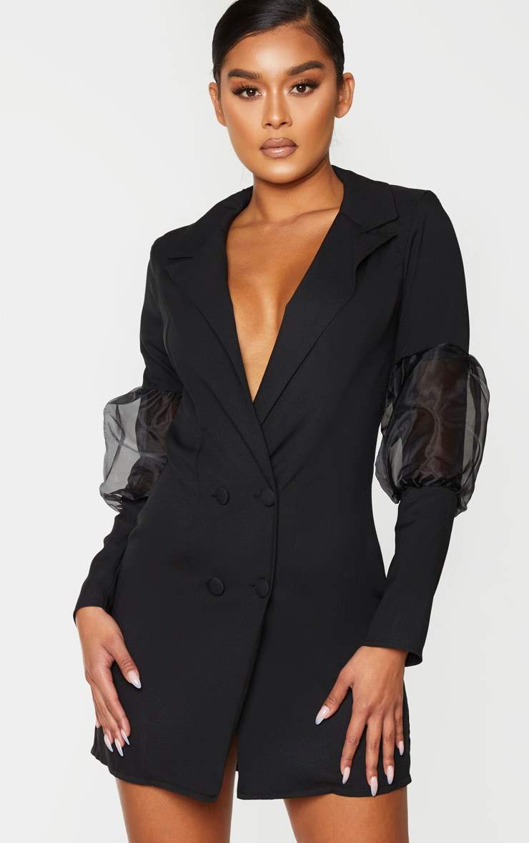 Black Organza Puff Detail Blazer Dress 1
